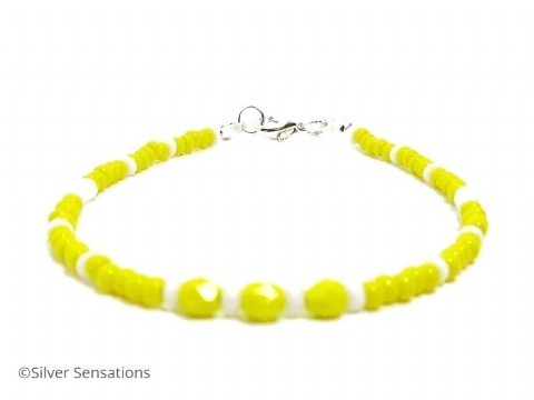 Yellow & White Seed Bead Friendship Fashion Bracelet